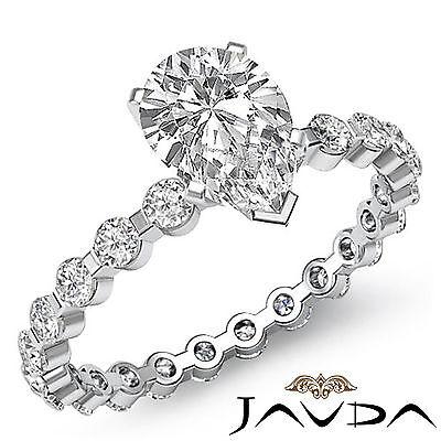 Bar Set Eternity Style Pear Diamond Engagement Ring GIA G VS2 Platinum 1.4 ct
