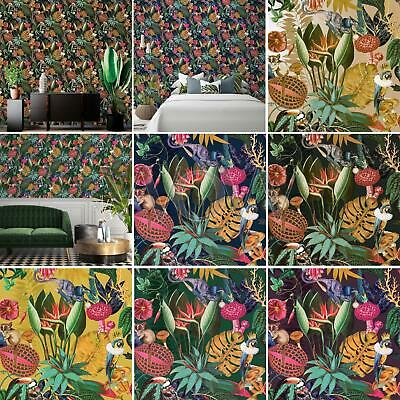 Holden Tropical Wonderland Wallpaper - Exotic Animals Flowers in Various Colours