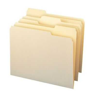 Letter Size Smead Manila File Folders 1/3 Cut Assorted Tabs 150 count