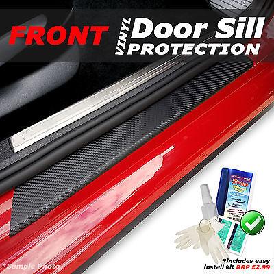 Vauxhall Corsa D 3DR 2006 - 2015 2PC Black Carbon Vinyl Door Sill Protectors