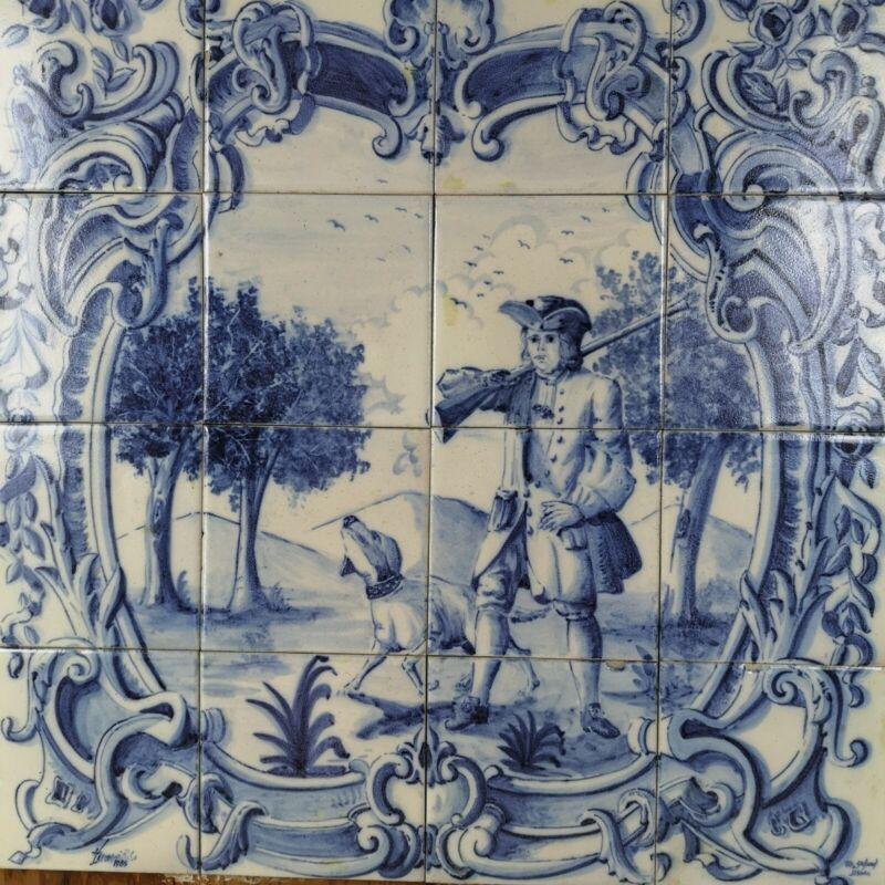 Vintage Ceramic 16-Tile Panel Portuguese Azulejo Blue White Mounted on Plywood