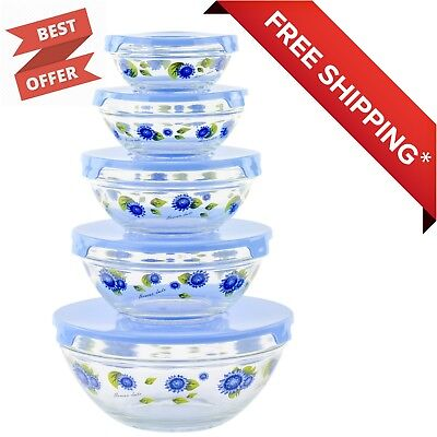 10 Piece Storage Container (10 Piece Glass Food Storage Container Set With Lids and Flower Design)