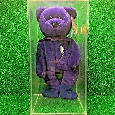 1997 Princess Diana Bear Retired Ty Beanie Baby PE - NO STAMP & LEGENDARY DEFECT