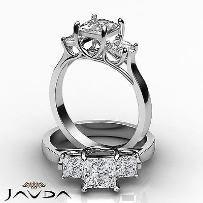 3 Stone Princess Diamond Glistening Engagement Ring GIA F SI1 Platinum 950 1.6ct