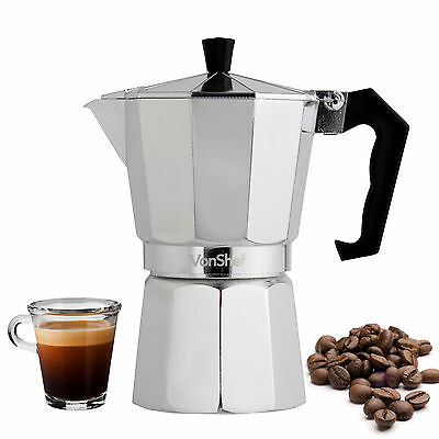 VonShef 3 Cup/150ml Italian Espresso Stove Top Coffee Maker Percolator Pot