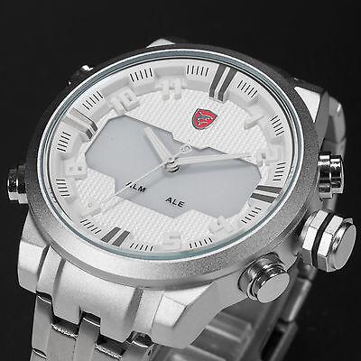 Shark Men's Digital LED Date Day Alarm Dual Quartz Stainless Steel Sport Watch