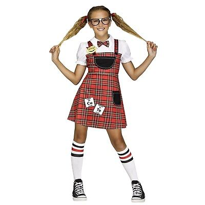 Girls Nerd Bookworm Student Teachers Pet Halloween Costume Child Tween M L XL](Nerd Costumes For Girls)