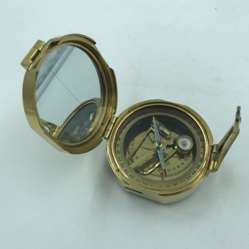 Antique Reproduction Nautical Brass Brunton Direction Compass With Wooden box