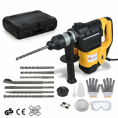 3 Modes Electric Rotary Hammer SDS Plus Drill 1050W Chuck Demolition Chisels Set