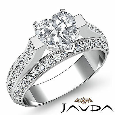 Bridge Accent Micro Pave Heart Diamond Engagement Ring GIA G VS2 Clarity 2.4 Ct