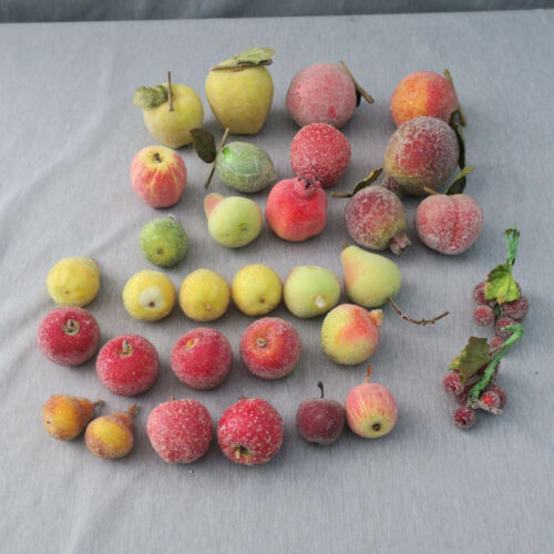 Lot of 32 Vintage Sugared Beaded Faux Fruit Apples Pears Grapes Peach Lime