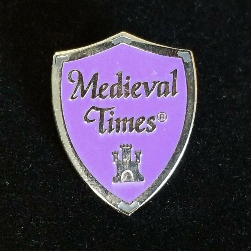 Medieval Times Restaurant Souvenir Lapel Pin Purple Shield Gold Tone