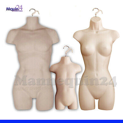 3 Flesh Mannequins Set - Muscle Man Female Toddler Plasitc Hanging Dress Forms