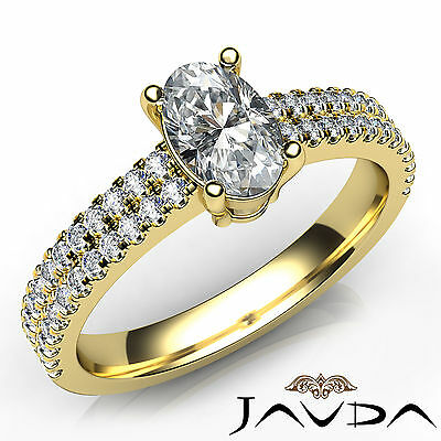French U Pave 100% Natural Oval Cut Diamond Engagement Ring GIA F Color VS2 1Ct