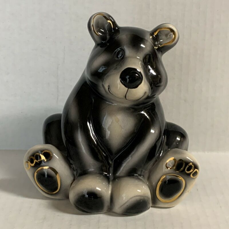 Coin Piggy Bank Black Bear With Gold Accents FLAW