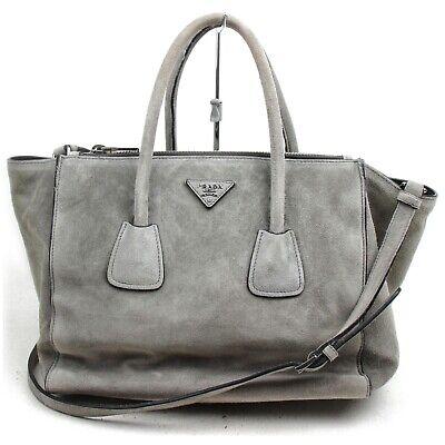 Prada Tote Bag Suede 2way Grays Suede Leather 1129939
