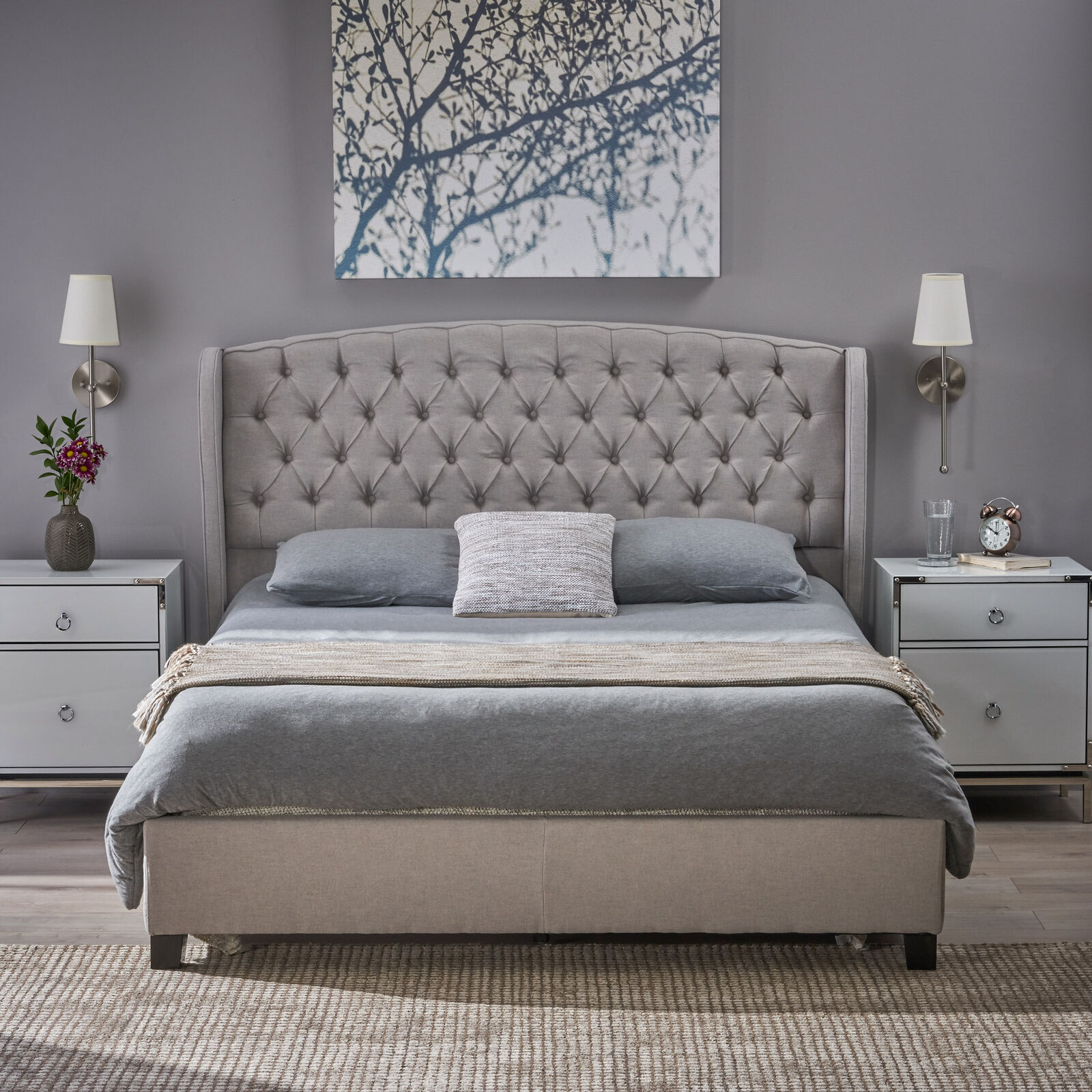 Twilight Fully Upholstered Fabric Queen Bed Set Beds & Bed Frames