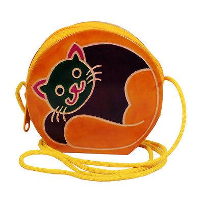 Genuine Leather Shantiniketan Handmade Cat Design Kids Coin Purse Painted Tooled