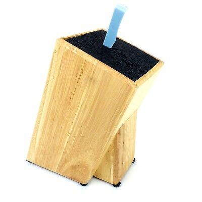 Kapoosh Light Oak Wood Knife Block Universal Clean Easy Bristles Holder Used