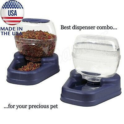 - AUTOMATIC PET FOOD DISPENSER Dog Cat Feeder Waterer Auto Dish Bowl Combo Pack