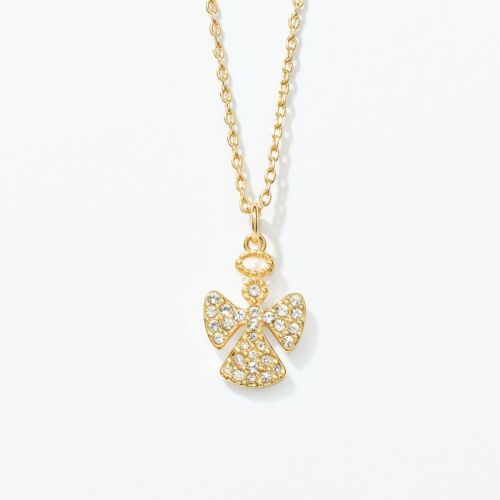 """Touchstone Crystal Angel Necklace, Golden Item 1915N Crystal; gold plating; 15"""""""