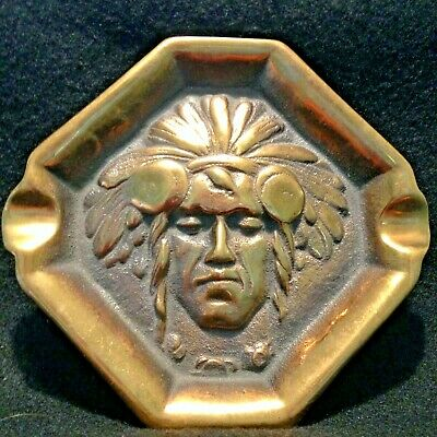 Vintage Brass Native American Indian Chief Cigar Ashtray