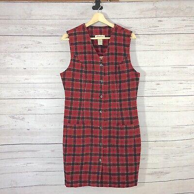 Eddie Bauer Women's Red Plaid Sleeveless Button Down - Red Bauer Kleid