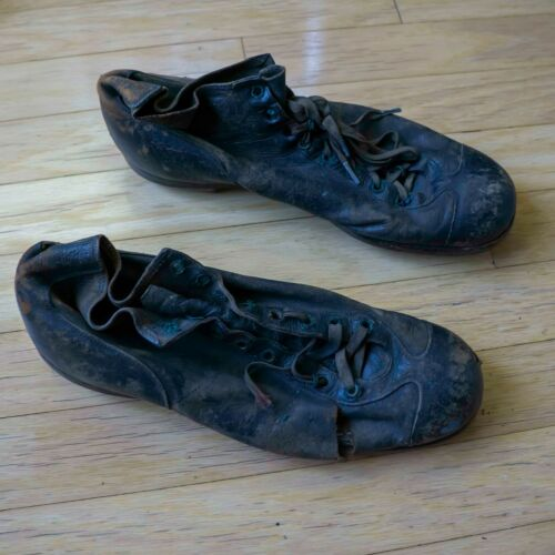 VINTAGE ANTIQUE SPALDING FOOTBALL SHOES WITH NAILED WOODEN CLEATS