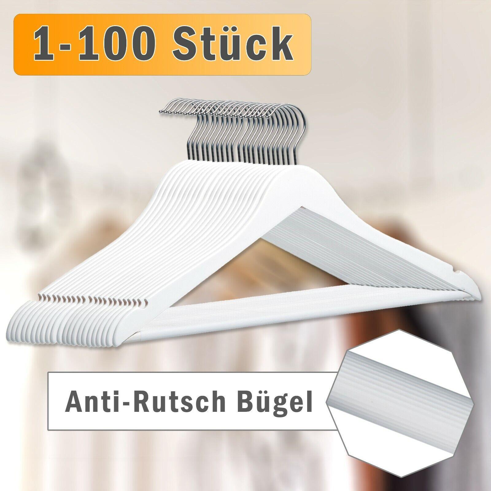 1-100 Holz Kleiderbügel in Weiß, anti-Rutsch Design, Jacken Kleider Hosen Bügel