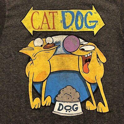 Nickelodeon Cat Dog T-Shirt Mens Small Art Cartoon Adult Gray Catdog Rewind Cat Dog Art