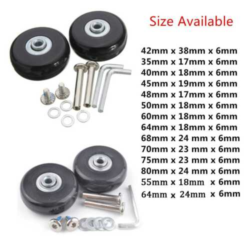 2pcs Suitcase Replacement Luggage Wheels Axles Deluxe Repair OD 48 x 17 x 6mm