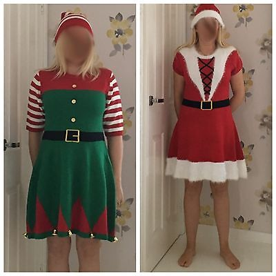 NEW PRIMARK XMAS KNITED JUMPER DRESS & HAT - ELF OR MRS SANTA CLAUS/CHRISTMAS ()