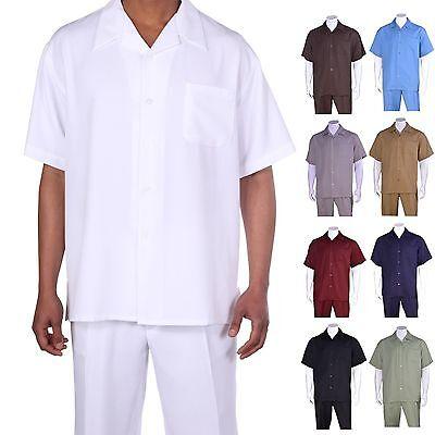 Men's 2pc Walking Suit Short Sleeve Casual Shirt & Pants Set  Solid  M2954 .2963