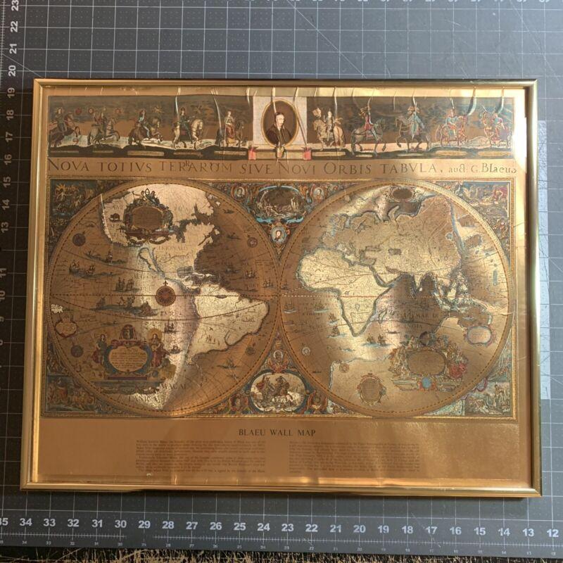 Vintage Framed Gold Foil Blaeu Wall Map Willem Janszoon