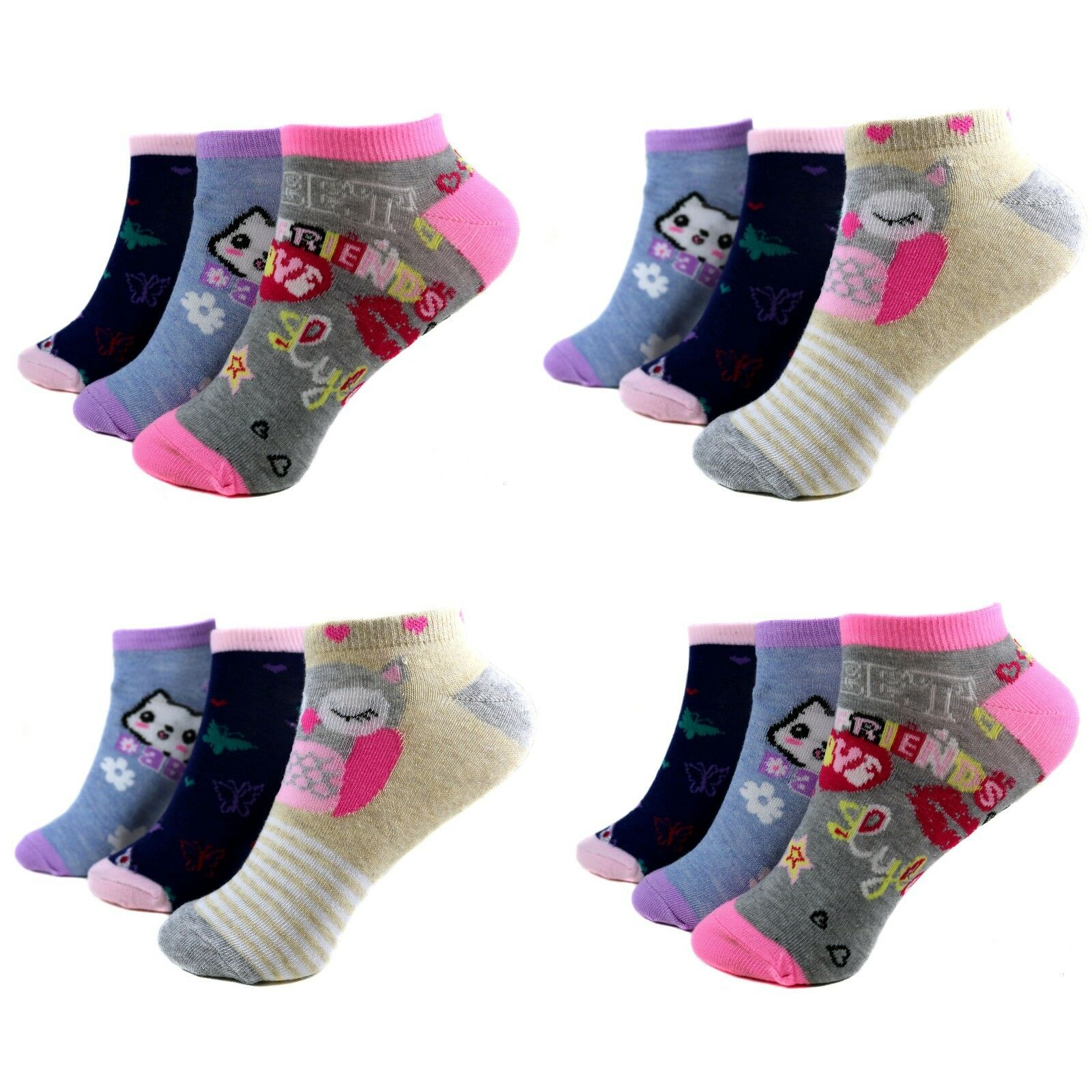 12 Paar Kids Mädchen Socken Kinder Sneaker Strümpfe 95% Baumwolle Gr.23-38 C-217