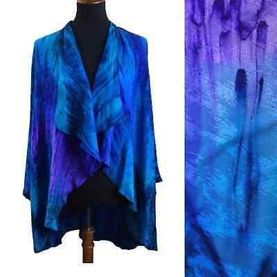 Vintage hand painted silk butterfly sleeve duster jacket one size Art To Wear