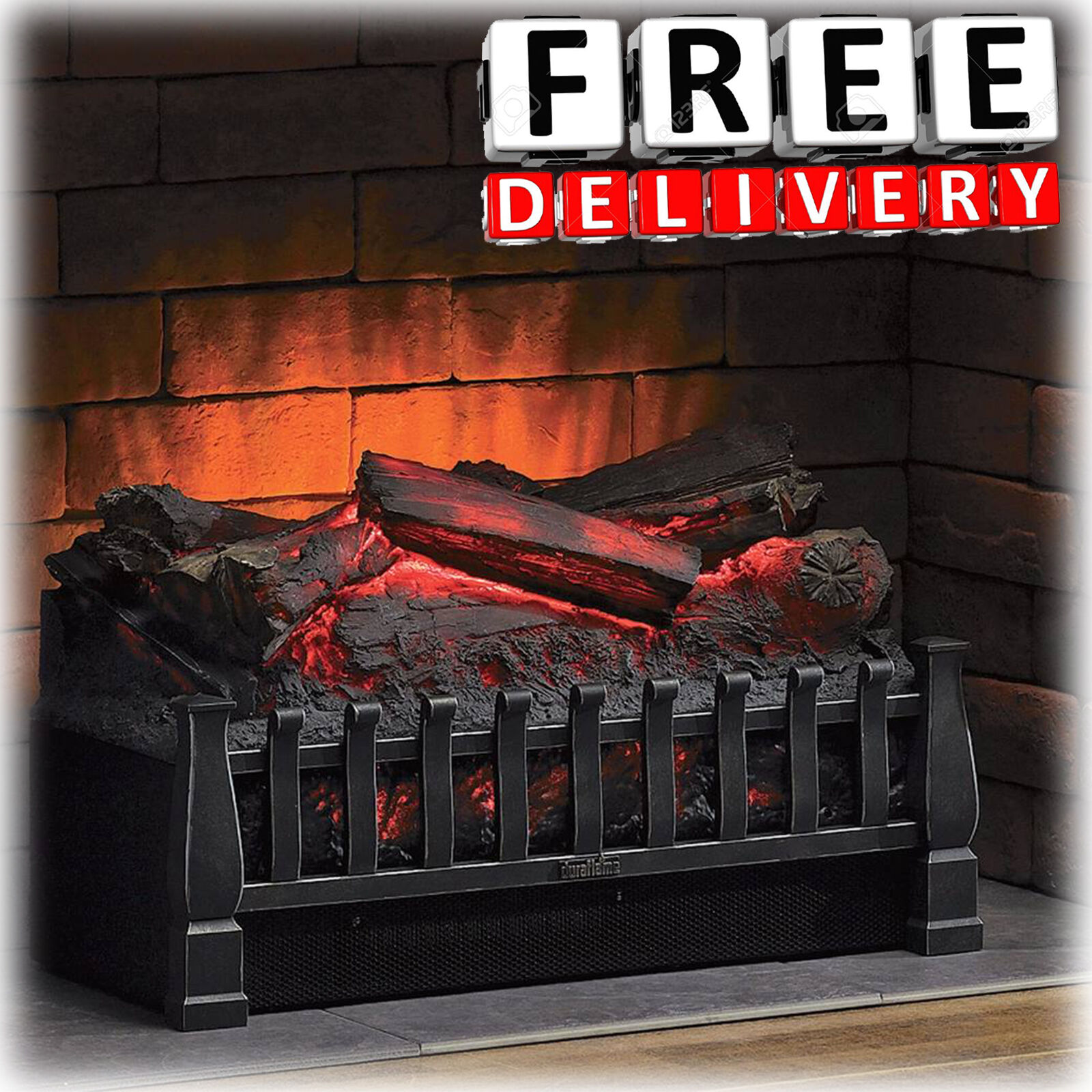 Electric Log Heater Infrared Set Fire Fireplace Realistic Em