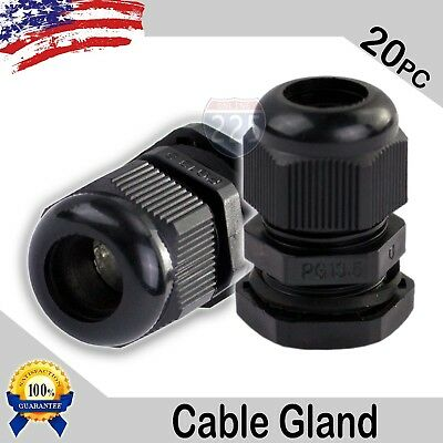 20 Pcs PG13.5 Black Nylon Waterproof Cable Gland 6-12mm Dia w/ Lock-Nut & Gasket