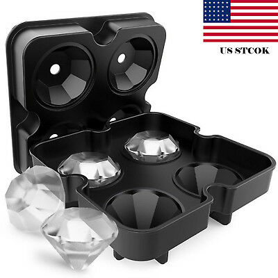 Shape Ice (4 shape Ice Maker Diamond Shape Tray Mold Cube Cocktails Silicone For Whiskey US )