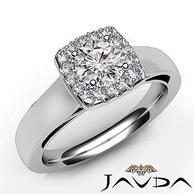 Halo Filigree Shank U Cut Prong Round Diamond Engagement GIA F VS1 Ring 0.92Ct