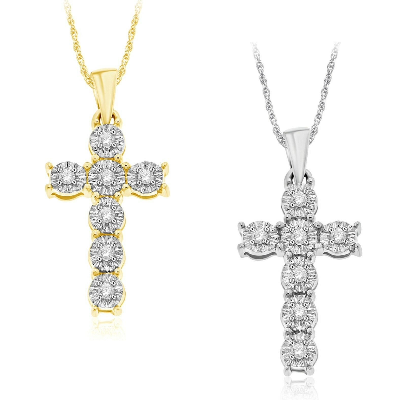 0.10ctw Sterling Silver Miracle Plate Diamond Cross Pendant