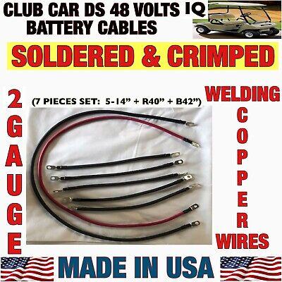 Club Car DS 1995 & UP Golf Cart Battery Cable Set 2 Gauge 6x8 VOLTS 48V Cables