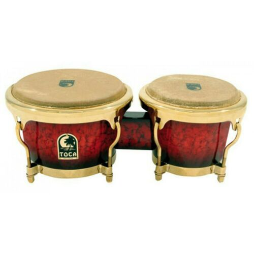 Toca LE Series 7 & 8-1/2″ Wooden Bongos in Bordeaux Bongo Hand Drum Brand New