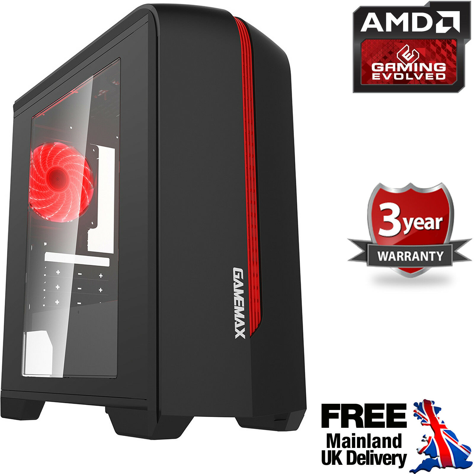 Computer Games - Ultra Fast AMD Quad Core 4.2 Home Gaming PC Computer HD 8GB 2TB Radeon R7 CenR