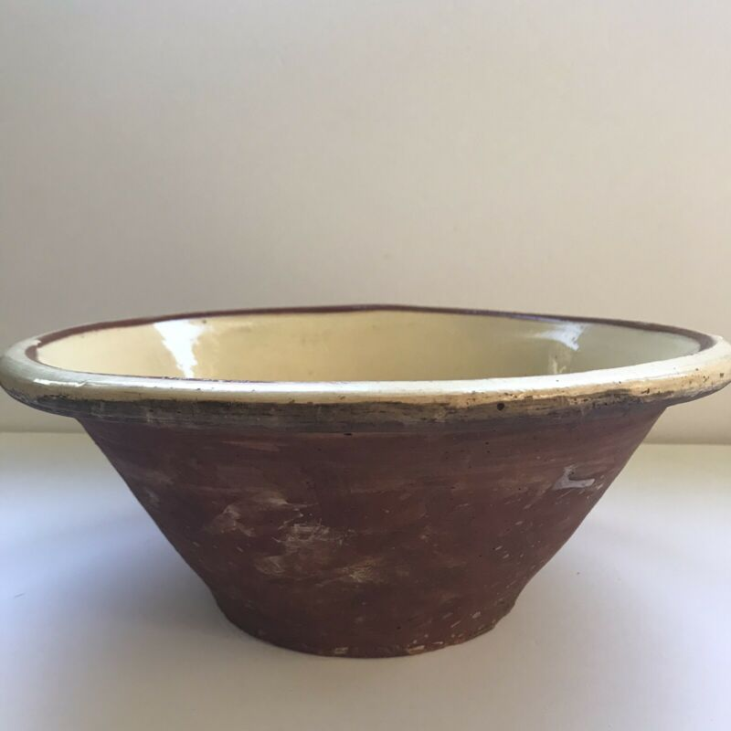 """Large Vintage 13"""" Earthenware Mixing Bowl Farmhouse French Country Primitve"""