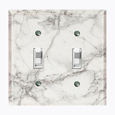 Metal Light Switch Cover Wall Plate Marble Granite Stone Pattern White MAR071 Light Switch Cover Stone