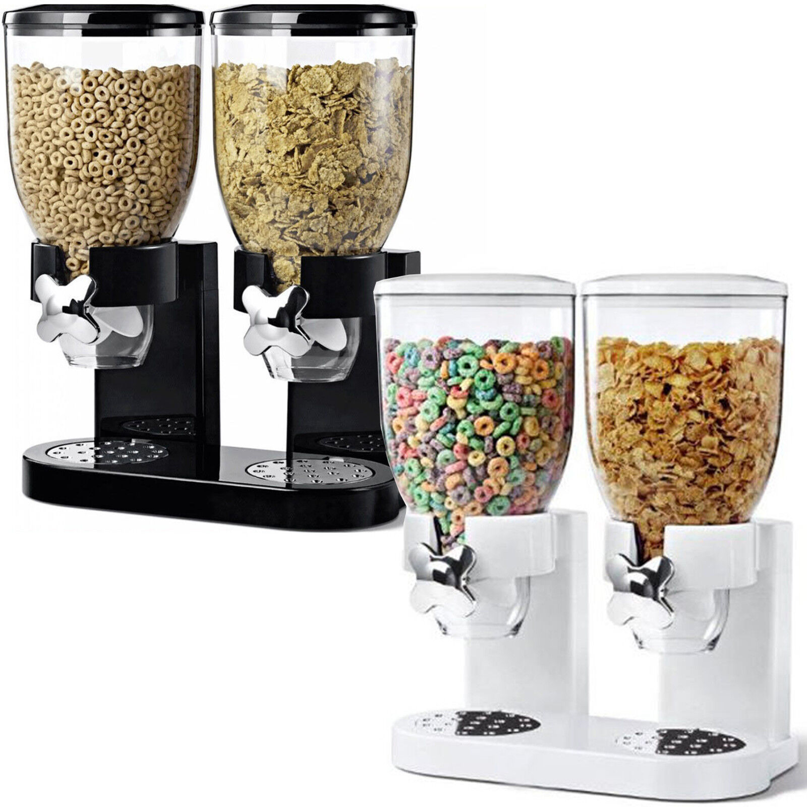 DOUBLE CEREAL DISPENSER DRY FOOD STORAGE CONTAINER DISPENSER