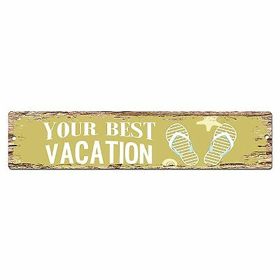 SP0390 YOUR BEST VACATION Street Chic Sign Bar Store Shop Cafe Home Wall Decor