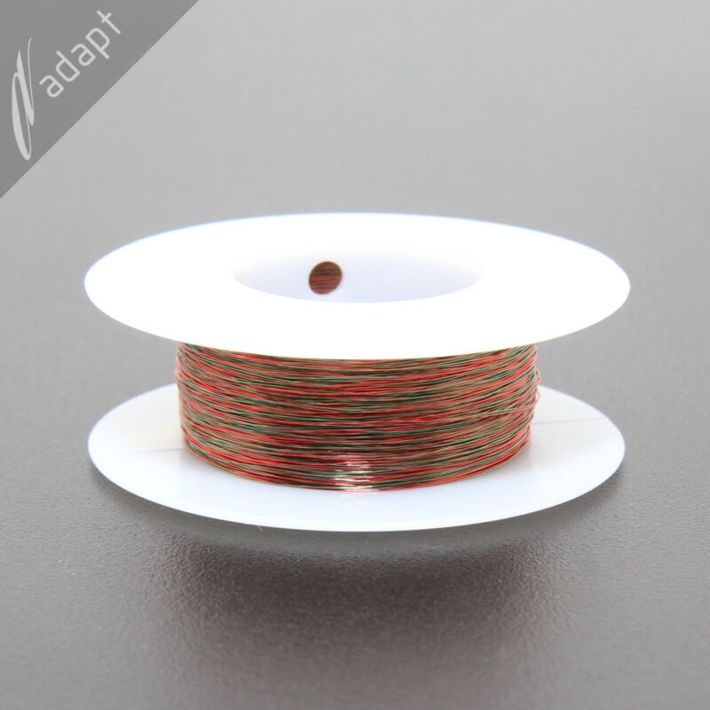 Twisted magnet wire, 2x#32, red/green, SPN, MW28, 100 ft, ~12TPF, 2/32 awg