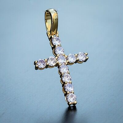 14K Gold Plated Purple Cz Religious Mini Micro Iced Unisex Small Cross Pendant 14k Purple Cross